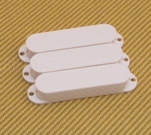 PC-0446-025 (3) White No-Hole Single Coil Guitar Pickup Covers Strat/Mustang Bass