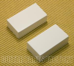 PC-0303-W (2) White Closed Guitar Humbucker No Holes Pickup Covers Set