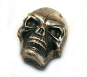 MK-3335-010 Antique Chrome Guitar/Bass Push-On Skull Knob