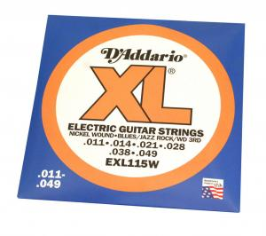 EXL115W D'Addario 11-49 Jazz/Rock W3rd Electric Guitar Strings