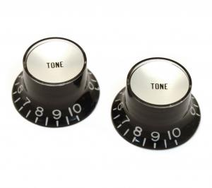 PK-0182-023 Reflector Tone Knobs Black Silver for USA Gibson Guitar