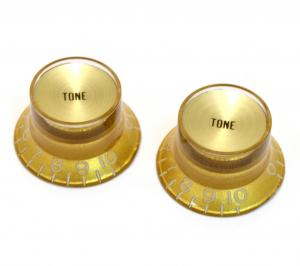 PK-0182-032 (2) Reflector Tone Knobs Gold/Gold for USA Gibson Guitar