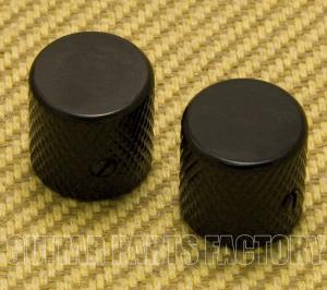 MK-004-BK 2 Black Metal Flat-Top Knobs for Guitar or Bass
