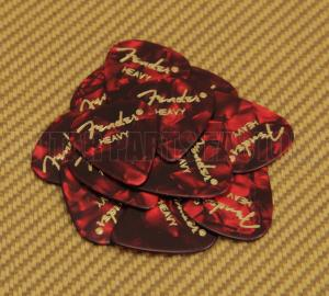 098-0351-909 Fender Heavy 351 Red Moto Guitar Picks