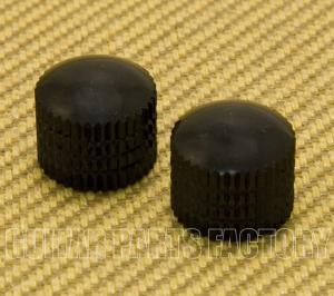 PK-008-BK (2) Black Plastic Push-On Dome Knobs for Guitar/Bass