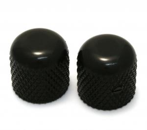 MK-0110-003 (2) Black Dome Knobs for Solid Shaft Pots for Guitar/Bass