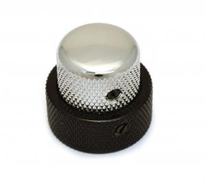 MK-3338-000 1 Black and Chrome Stacked Knob for 62 Jazz Bass CTS Stack Pot