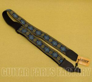 922-0060-104 Gretsch G Brand Guitar or Bass Strap Blue/Orange Black Ends 9220060104