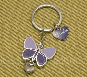 910-0276-000 Fender Guitar Logo Purple Butterfly & Heart Keychain  9100276000
