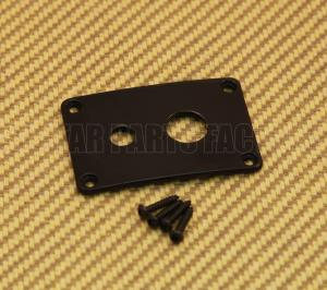 DHJP-B Black Rectangle Dual Hole Jack Plate For Guitar/Bass w/ Screws