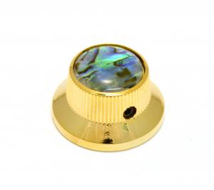 K-MBAB-G (1) Gold/Abalone Metal Guitar/Bass Bell Knob 6mm Split Shaft