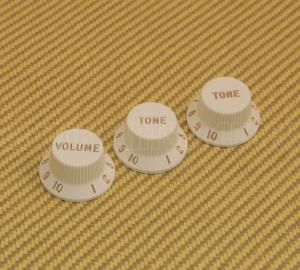 005-6254-049 Fender USA Guitar Strat Volume Tone Knob Set of 3 - Parchment 0056254049