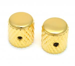 MK-0112-002 (2) Gold Heavy Knurled Vintage Style Barrel Knobs for Guitar/Bass