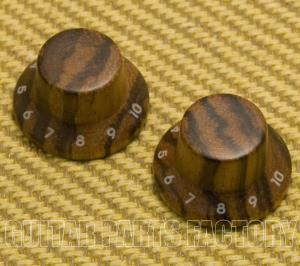 PK-KZ104 (2) Zebra Wood Strat Style Bell Knobs for Guitar/Bass 1-10 Press Fit
