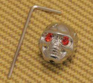 MK-SKULL-010 (1) Chrome Skull Knob with Red Eyes for Guitar/Bass