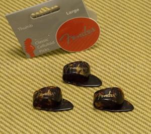 098-1002-503 Genuine Fender Large Tortoise Thumb Picks Set of 3