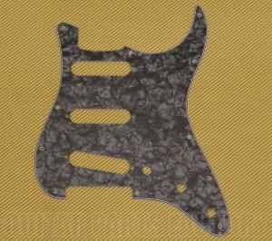 PG-0552-052 Pearloid Dark Black 11-hole Pickguard Fender Stratocaster Guitar