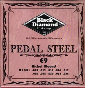 N740 Black Diamond Nickel Wound Pedal Steel String Set, 10 String, E9 Tuning