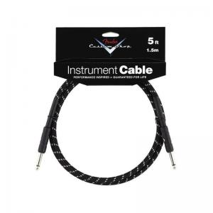 099-0820-034 Fender Custom Shop Guitar/Bass Cable 5 ft  Black Tweed Straight Straight 0990820034
