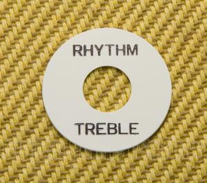 DR00WB White Rhythm/Treble Switch Ring Bold Black Lettering