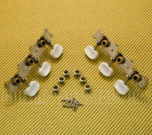 J-68-NI Pearl Button Nickel 3-On-A-Plate Acoustic Classical Guitar Tuners