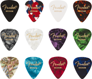 098-0300-300 (12) Genuine Fender Picks 351 Shape Celluloid Medley Medium 0980300300