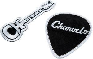 099-2485-002 Charvel Logo Guitar and Pick Set of 2 Embroidered Velvet Iron-On Patches 0992485002