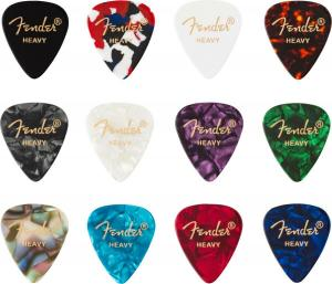098-0300-500 (12) Genuine Fender Picks 351 Shape Celluloid Medley Heavy 0980300500