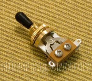 EP-0066-BT Gold Short 3-Way Guitar Toggle Switch Black Tip