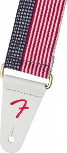 099-0650-103 Genuine Fender USA Made Cotton Guitar/Bass Strap Red White & Blue 0990650103