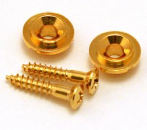 AP-0730-002 (2) Gold Vintage Style Round Guitar String Guides/Trees for Tele