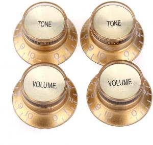KN-007-SET-G Top Hat Gold and Gold Reflector 2 Volume 2 Tone Knobs Metric Size 18 Spline