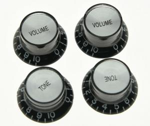 KN-007-SET Top Hat Black with Silver Reflector 2 Volume 2 Tone Knobs Metric Size 18 Spline