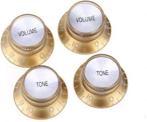 KN-007-SET-GS Top Hat Gold with Silver Reflector 2 Volume 2 Tone Knobs Metric Size 18 Spline