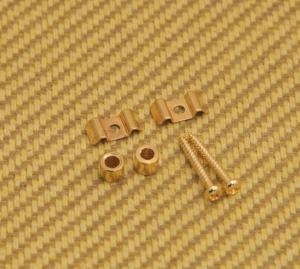 AP-0720-002 Gold Guitar String Guides Flat Wave w/ Screws & Spacers (2-Pack)