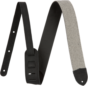 "099-0610-006 Genuine Fender Strap Deluxe 2"" Black Tweed/Leather USA Made 0990610006"