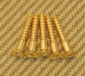GS-0063-002 (5) Gold Mounting Screws for Tele Guitar Bridge