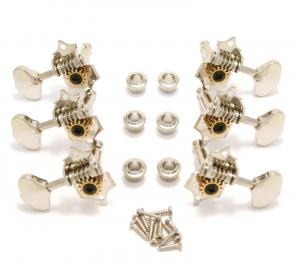 V97N Grover Original Nickel Sta-Tite 3 x 3 Open Gear Guitar Tuners 14 1 Ratio