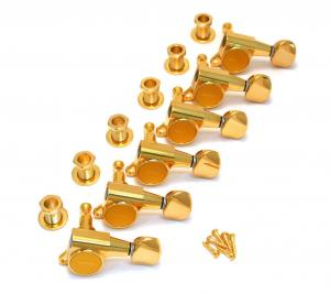 TK-0760-002 Gotoh Gold Sealed 6 Inline Mini Tuners Round Button Fender Guitar
