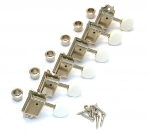 TK-0980-001 Gotoh Nickel 6 Inline White Round Button Vintage Guitar Tuners