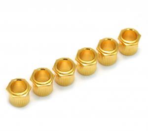 TK-0788-002 (6) Gold Vintage Style Hex Press-In Guitar Tuner Bushings