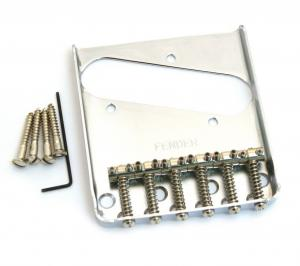 099-0810-000 Genuine Fender Chrome Vintage 6-saddle Telecaster/Tele Bridge 0990810000