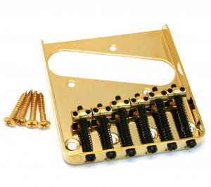 TB-0033-002 Gold Vintage 6-Saddle Tray Style Bridge for Tele Guitar