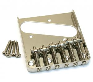 TB-0033-001 Nickel Vintage Style 6-Saddle Bridge for Tele Telecaster