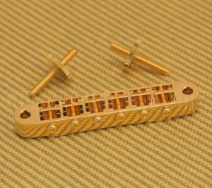 GB-2540-002 Gotoh GE101B Gold Tune-O-Matic Guitar Bridge w/Nashville Studs